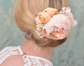 Ivory and Peach Bridal Flower Hair Clip