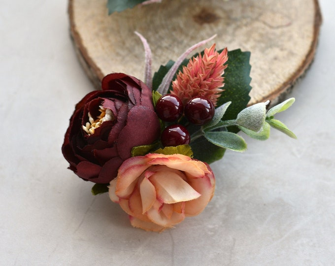 Ranunculus and Rose Hair Clip in Burgundy and Pink