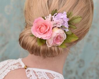 Pastel Pink Rose Flower Hair Clip