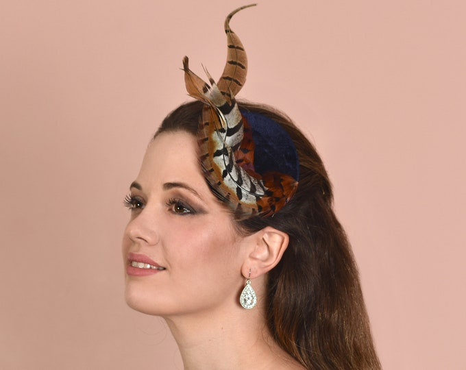 Copper Pheasant Feather Fascinator in Navy Blue Velvet