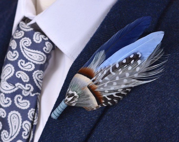 Navy and Pastel Blue Feather Lapel Pin