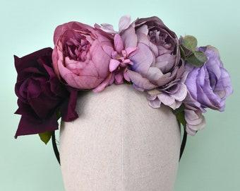 Penny -  Purple Ombre Flower Crown Headband