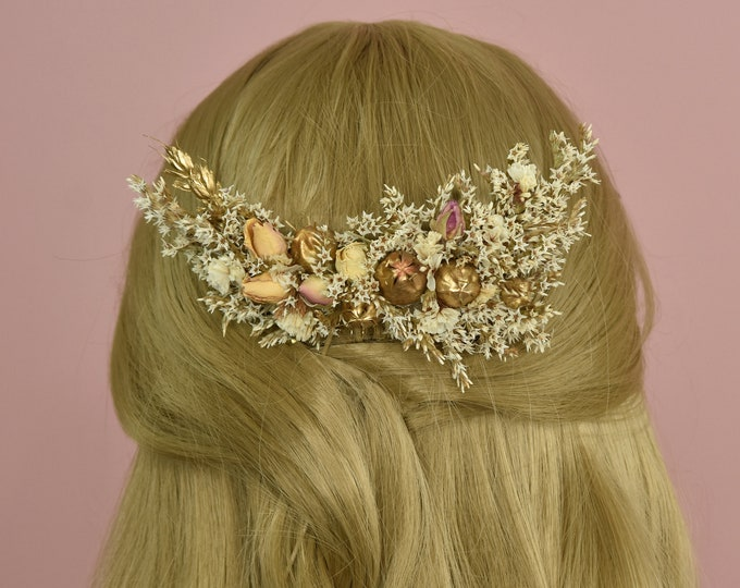 Dried Flower Hair Comb in Ivory, Peach Roses and Gold