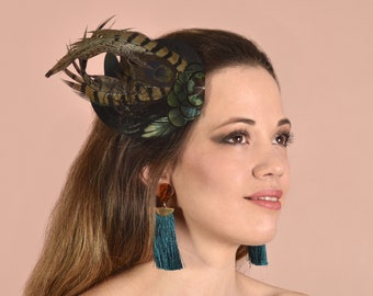 Feather Fascinator in Black Silk and Black Pheasant Feather