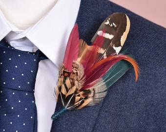 Copper, Green and Crimson Pheasant Feather Lapel Pin / Hat Pin No.178