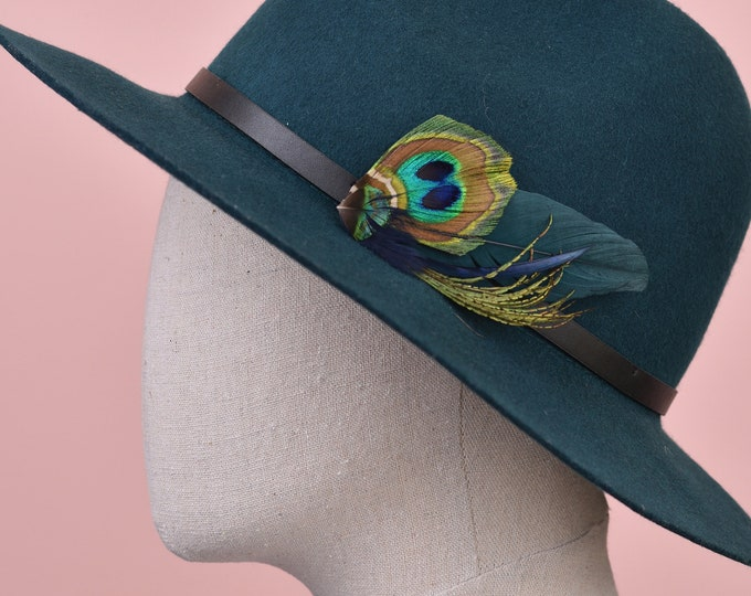 Green and Peacock Feather Lapel Pin / Hat Pin No.101