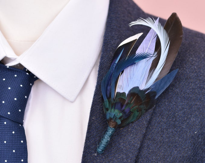 Shades of Blue Feather Lapel Pin No.115