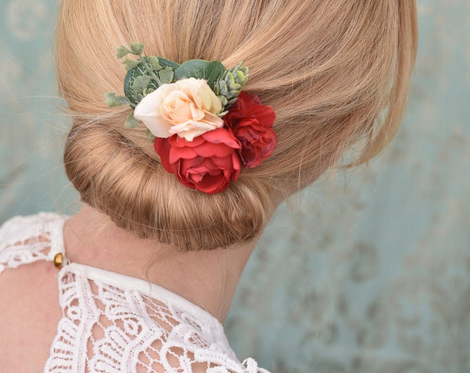 Silk Flower Hair Clip in Red and Ivory Roses and Ranunculus with Eucalyptus
