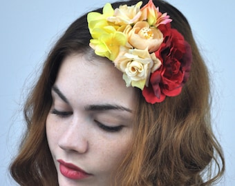 Roses Flower Fascinator in Yellow, Crimson and Peach