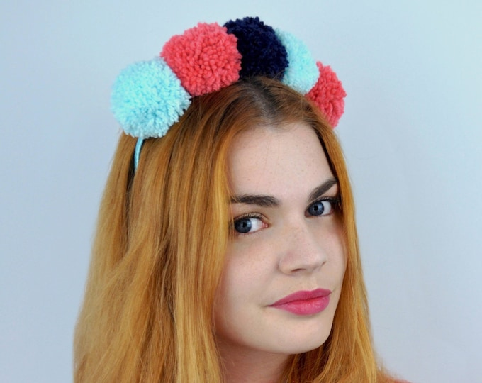 Pom Pom Headband in Aqua, Navy and Coral