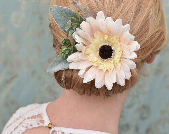 Blush Pink Gerbera Flower Hair Clip with Silvery Greenery