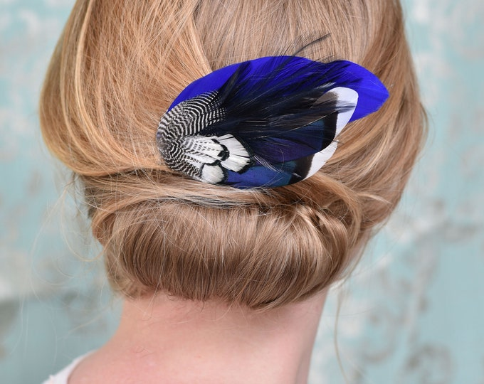 Navy Blue Duck Feather Hair Clip No.17