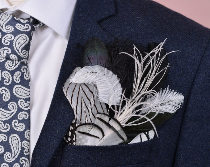 Monochrome Feather Pocket Square No.25