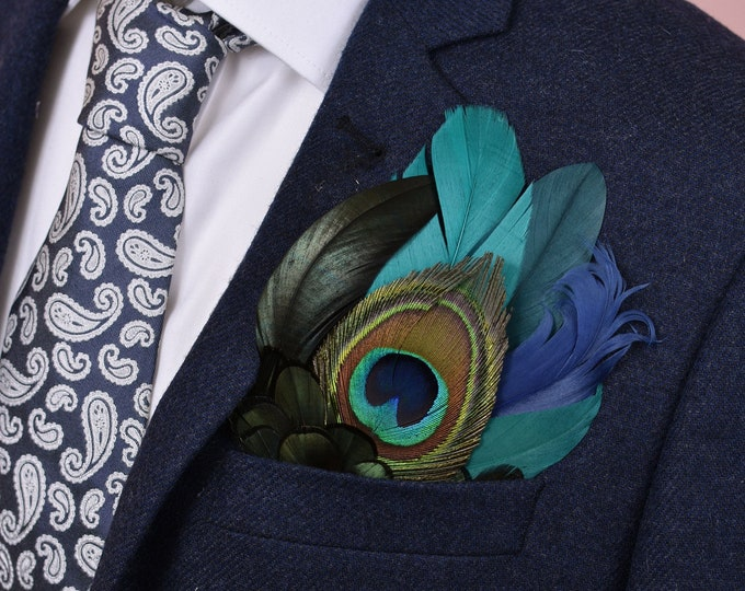 Green, Blue and Peacock Feather Pocket Square No.29