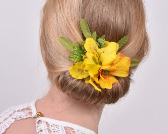 Silk Flower Hair Clip in Yellow Cosmos