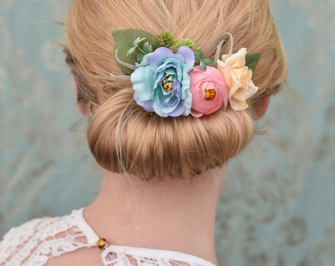 Peony, Ranunculus and Rose in Pastel Blue , Coral Pink and Ivory