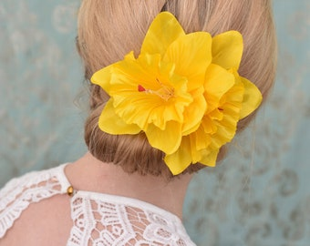 Yellow Large Double Daffodil Hair Clip