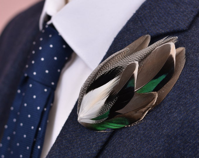 Navy Blue Duck Feather Lapel Pin Brooch No.25