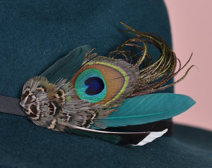 Green and Navy Peacock Feather Hat Pin / Lapel Pin No.153