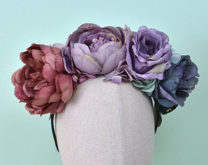 Persephone -  Purple to Blue Ombre Flower Crown Headband