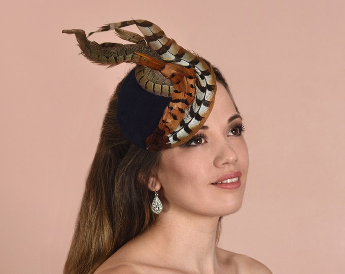 Navy Blue and Copper Pheasant Feather Fascinator