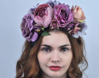 Violet - Purple Flower Crown Headpiece