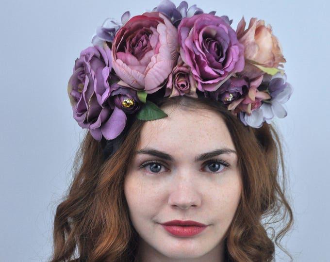Violet - Purple Flower Crown Headpiece