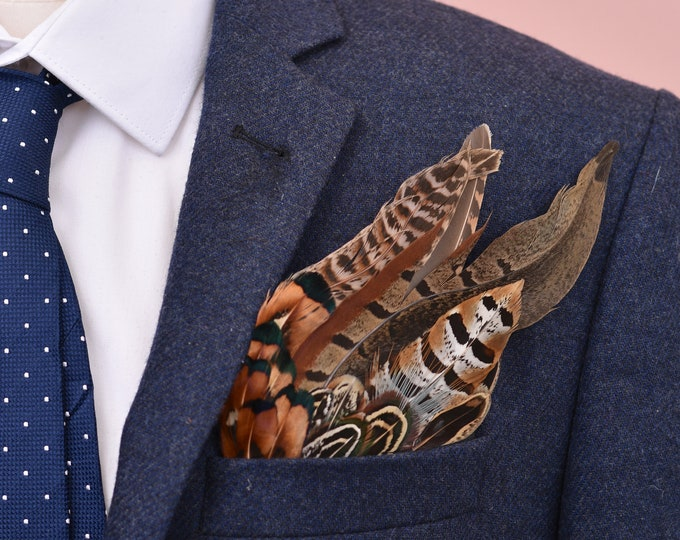 Pheasant Feather Pocket Square No.9