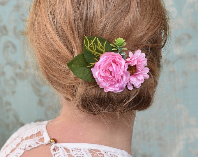 Pink Peony and Daisy Flower Hair Clip