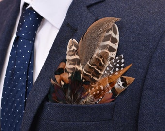 Pheasant Feather Pocket Square No.2