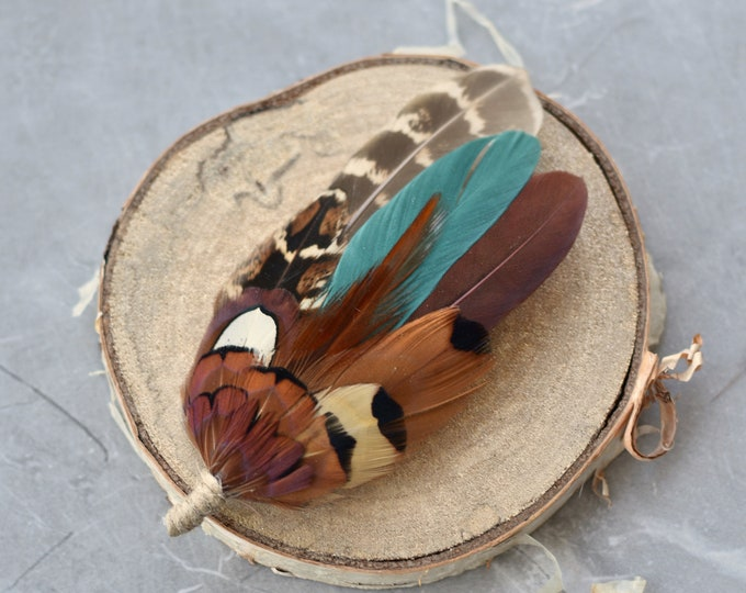 Teal Green and Pheasant Feather Lapel Pin