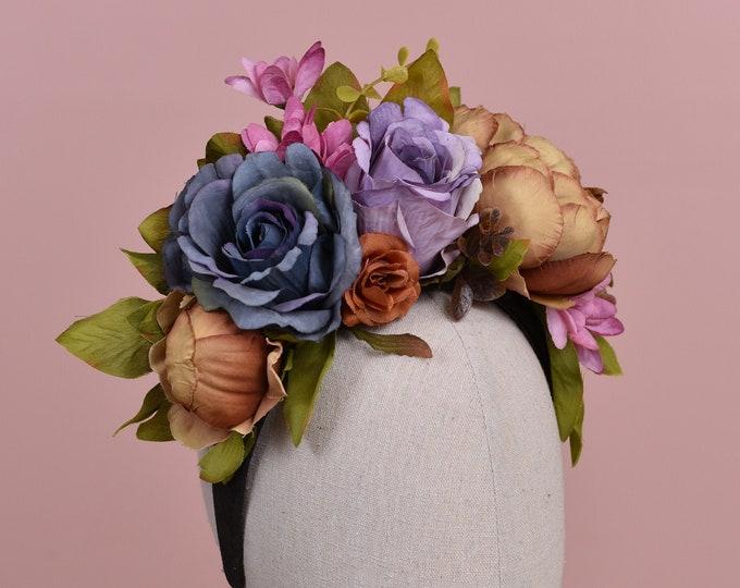 Blue and Purple Autumn Flower Crown Headpiece