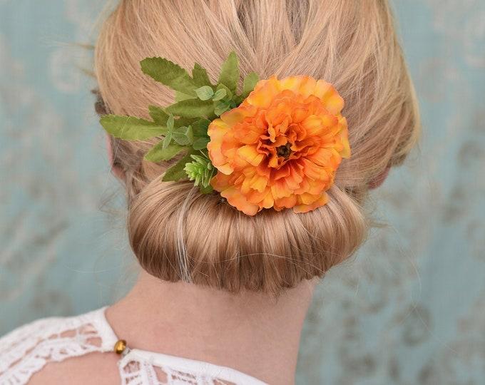 Orange Marigold Flower Hair Clip