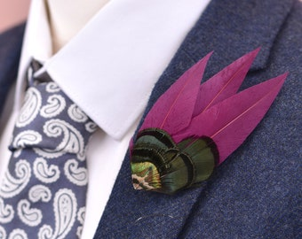 Purple, Green and Gold Feather Lapel Pin