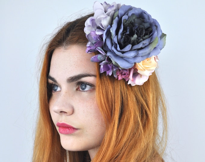 Flower Hair Clip in Deep Purple and Soft Pink Roses