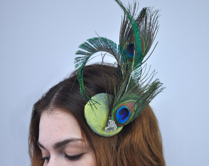 Elegant Peacock Feather Fascinator In Teal, Turquoise and Gold