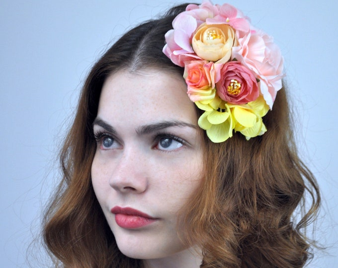Flower Hair Clip Fascinator in Pink, Peach and Yellow