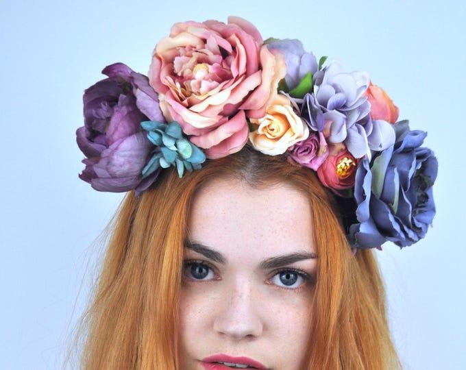 English Rose Flower Crown Headpiece
