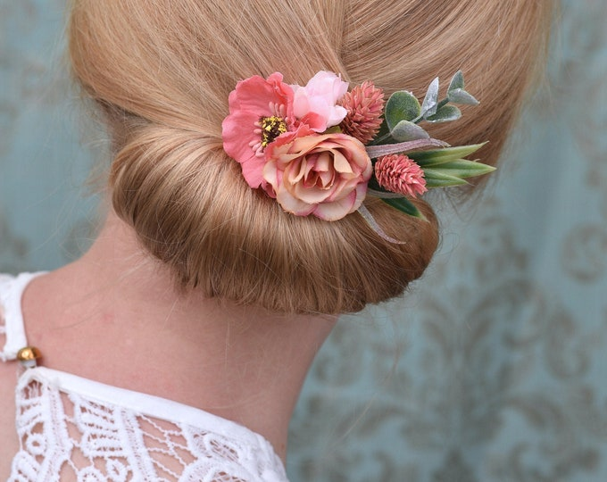 Silk and Dried Flower Hair Clip in Soft Coral and Blush Pink