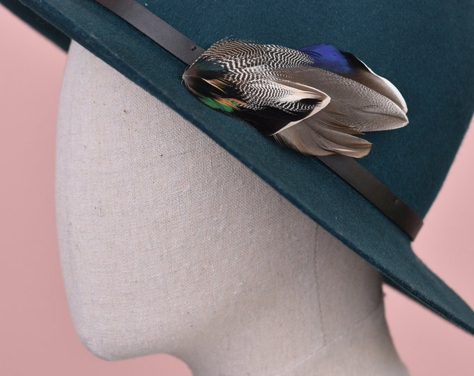 Navy Blue and Grey Mallard Duck Feather Lapel Pin Brooch No.14