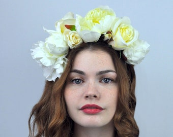 Faith - Ivory Peony and Rose Bridal Flower Crown Headpiece