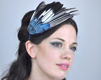Jay Wing Feather Fascinator in Blue Velvet | Feather Headpiece | Bird Wing Fascinator | Races Fascinator | Wedding Guest Fascinator