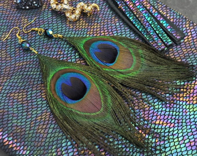 Featured listing image: Large Peacock Feather Earrings