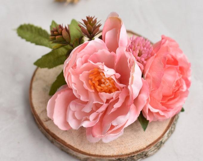 Pink Peony Silk Flower Hair Clip
