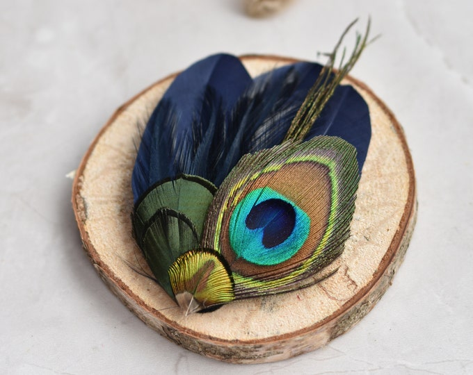 Navy Blue and Peacock Feather Hair Clip Fascinator