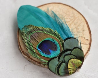 Peacock Feather Hair Clip Fascinator in Blue, Teal, Green and Gold