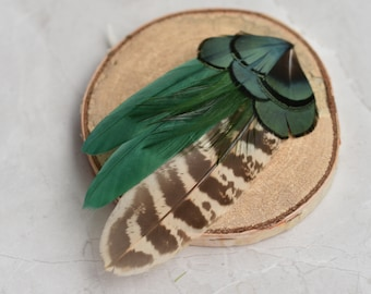 Bottle Green and Pheasant Feather Hair Clip Fascinator