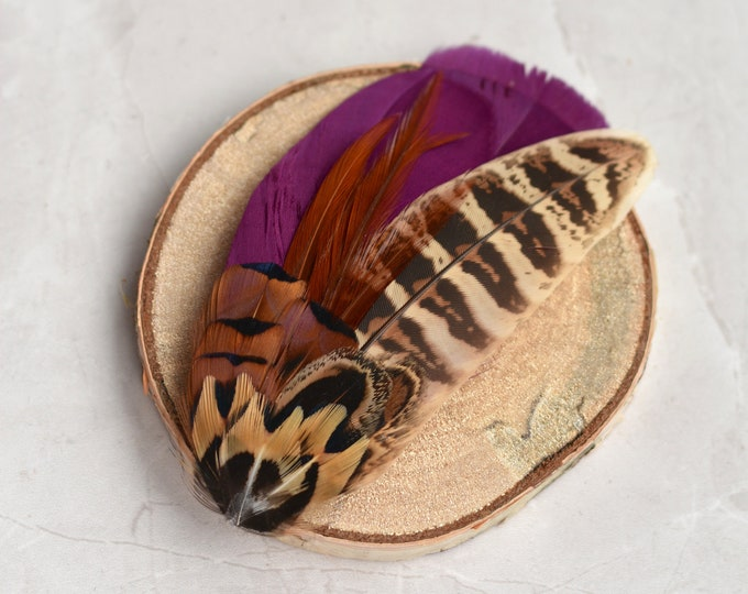 Purple and Pheasant Feather Hair Clip