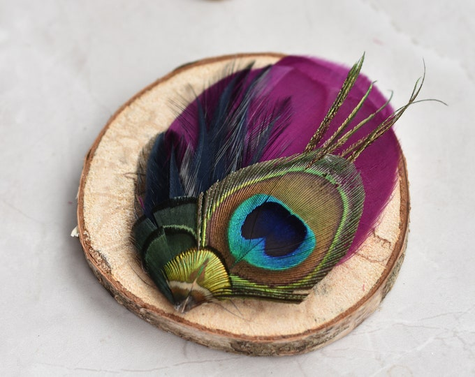 Purple, Navy Blue and Peacock Feather Hair Clip Fascinator