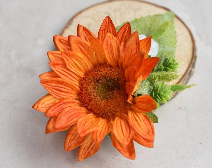 Orange Sunflower Flower Hair Clip